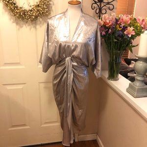 Zara NWT Metallic Silver Kimono Style Midi Dress